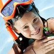 Happy Girl In A Swimming Pool with Goggles and Snorkel — Stock Photo