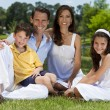 Attractive Family Sitting On Grass Outside In Sunshine — Stockfoto