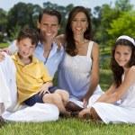 atrakcyjny rodzinny siedząc na trawie na zewnątrz w słońcu — Zdjęcie stockowe