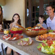 Attractive Family Eating Healthy Salad and Food Meal — Foto de Stock