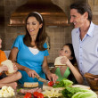 Attractive Family In Kitchen Making Healthy Sandwiches — Stock Photo
