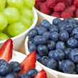Bowls of Healthy Breakfast Blueberries Raspberries Strawberries — Stock Photo