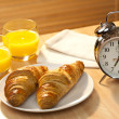 Healthy Continental Breakfast Croissant, Orange Juice & Alarm Cl — Stock Photo