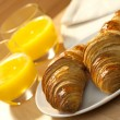 Healthy Continental Breakfast Croissant and Orange Juice - Stock Photo