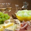 Stock Photo: Mediterranean Diet of Cheese, Wine, Grapes, Bread Parma Ham & Me