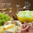 Mediterranean Diet of Cheese, Wine, Grapes, Bread Parma Ham &amp; Me - Stock Photo