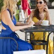 Two Beautiful Young Women Having Coffee With Shopping Bags — Stock Photo