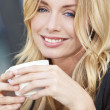 Beautiful Blond Woman Drinking Coffee — Stock Photo