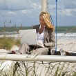 Stock Photo: Beautiful Young Woman Using Laptop On Boat At The Beach