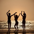 图库照片: Three Young Women Dancing On Beach At Sunset