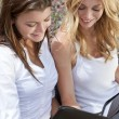 Two Young Businesswoman Outside Meeting Looking At Folder — Stock Photo #6479788