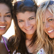 Three Beautiful Young Women Friends Laughing At The Beach — Stock Photo