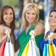 Three Beautiful Women With Fashion Shopping Bags — Stock Photo #6479863