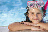 Happy Girl Child In Swimming Pool with Goggles and Snorkel — Stok fotoğraf