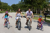 Modern Family Parents and Children Cycling — 图库照片