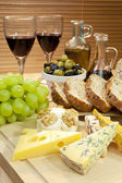 Mediterranean Diet of Cheese, Wine, Grapes, Olives, Bread Balsma — Stock Photo
