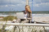 Beautiful Young Woman Using Laptop On Boat At The Beach — Stock Photo