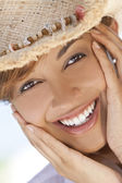 Beautiful Mixed Race Woman Laughing In Straw Coboy Hat — Stock Photo
