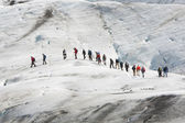 A Group Of Climbers on The Vatnajokull Glacier Iceland — Stock Photo