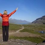 Woman Hiker Looking Down The Berufjordur Valley Iceland — Stock Photo