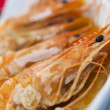 Giant Prawns or Shrimp Grilled in Garlic Butter - Stock Photo