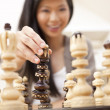 Beautiful Chinese Oriental Asian Woman Playing Chess — Stock Photo