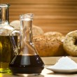 Olive Oil, Balsamic Vinegar, Salt and Rustic Bread — Stock Photo