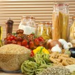 Healthy Pasta, Vegetables, Rice, Grain, Olive Oil, Seeds and Tom - Foto Stock