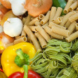 Dried Pasta &amp; Fresh Vegetables - Stock Photo