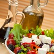 Tomato Pepper Olive Red Onion and Feta Salad - Stock Photo