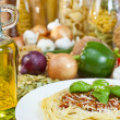 Spaghetti Bolognese, Pasta, Olive Oil & Fresh Vegetable Ingredie - Stock Photo
