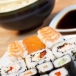 Sushi, Soy Sauce, Rice and Chopsticks — 图库照片