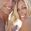 Sexy Attractive Man and Woman Couple Happy At the Beach — Stock Photo