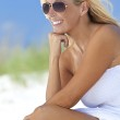 Beautiful Blond Woman in White Dress and Sunglasses At Beach — Stock Photo