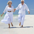 Happy Senior Couple Running Holding Hands on A Tropical Beach — Stock Photo #6482409
