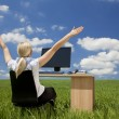 Businesswoman Using Computer In A Green Field — Stock Photo #6482911