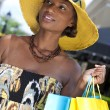 Beautiful African American Woman With Fashion Shopping Bags — Stock Photo