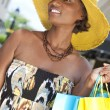 Stock Photo: Beautiful African American Woman With Fashion Shopping Bags