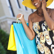 African American Woman With Cell Phone & Fashion Shopping Bags — Stock Photo