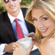 Beautiful Couple Man and Woman Having Drink At Cafe — Stock Photo