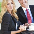 Beautiful Woman & Handsome Man Couple Drinking Coffee At Cafe — Stock Photo