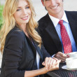 Beautiful Woman & Handsome Man Couple Drinking Coffee At Cafe - Stock Photo
