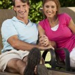 Successful Happy Middle Aged Man and Woman Couple Holding Hands — Stock Photo