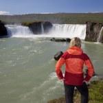 Woman Tourist At Godafoss Waterfall, Iceland — Stock Photo