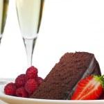 Champagne, Chocolate Cake, Raspberries and Strawberries — Stock Photo