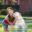 Beautiful Woman Washing Her pet Dog In A Tub — Stock Photo