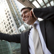 Businessman On His Cell In The City — Stock Photo