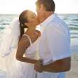Bride & Groom Married Couple Kissing at Sunset Beach Wedding — Foto Stock