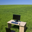 Desk and Computer In Green Field With Blue Sky — Stock Photo #6487003