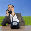 Businesswoman With Old Fashioned Green Values — Stock Photo